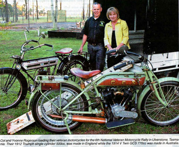 Col and Yvonne Rogerson loading bikes for the Tasmanian Veteran Motorcycle Rally