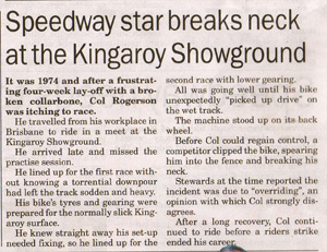 Speedway star breaks neck at the Kingaroy Showground